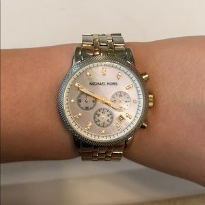 Michael Kors Two-Tone Mother of Pearl Faced Watch